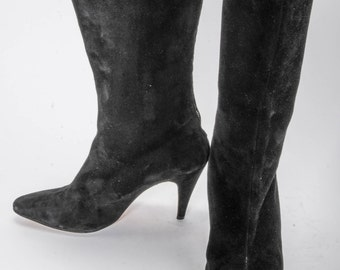 Black suede High Heeled Boots Women's Size 8 .5
