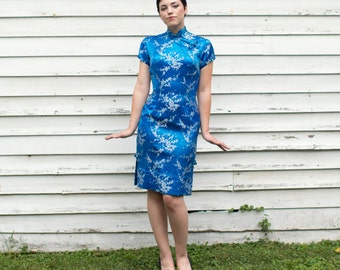 Vintage Cheongsam - Vintage Wiggle Dress - Royal Hawaiian Dress - Mid Century Dress - Peacock Blue Dress - Madarin Collar Asian