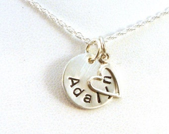 Personalized Name Necklaces for Women / Personalized Heart Necklace / Sterling Silver Name Necklace / Personalized Jewelry / Valentines Gift