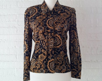 Black Gold Scarf Print Shirt 80s Vintage Boxy Cropped Baroque Versace-style Ornate Paisley High Collar Small Office Wear Party Shirt Blouse