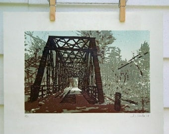 Truss Bridge in Vermont  -Hand Pulled, Limited Edition