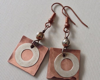 Hammered copper earrings with silver donuts and silver beads - two-tone earrings