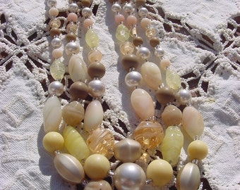 Lush Buttercream Vintage Japanese Glass Beads Necklace