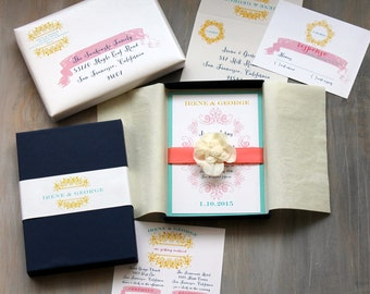 "Boxed Wedding Invitations, Modern Beach Wedding Invitation, Navy, Coral, Yellow - ""French Countryside Box Invite"" Sample - NEW LOWER PRICE!"