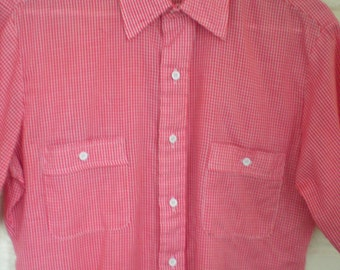 Now on Sale, Vintage Men's Marc Christopher Red Plaid Shirt, Size M