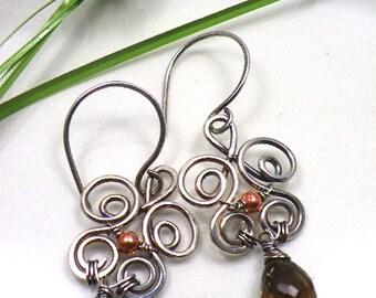 Wire wrapped artisan sterling silver earrings Whiskey Smokey Quartz