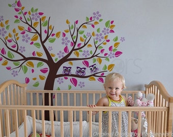 Girls Nursery Tree Decal Kids Wall Tree Decal Owls Stickers - Colorful Heart Tree with Lovely Owls