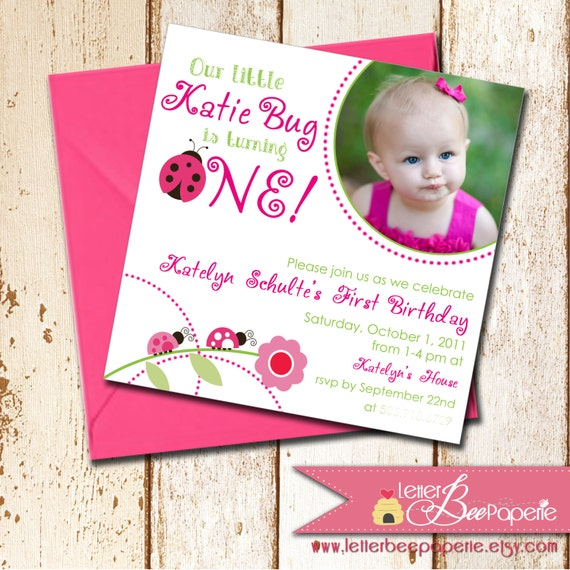 Little Ladybug Girls Birthday Party Invitation Custom Photo