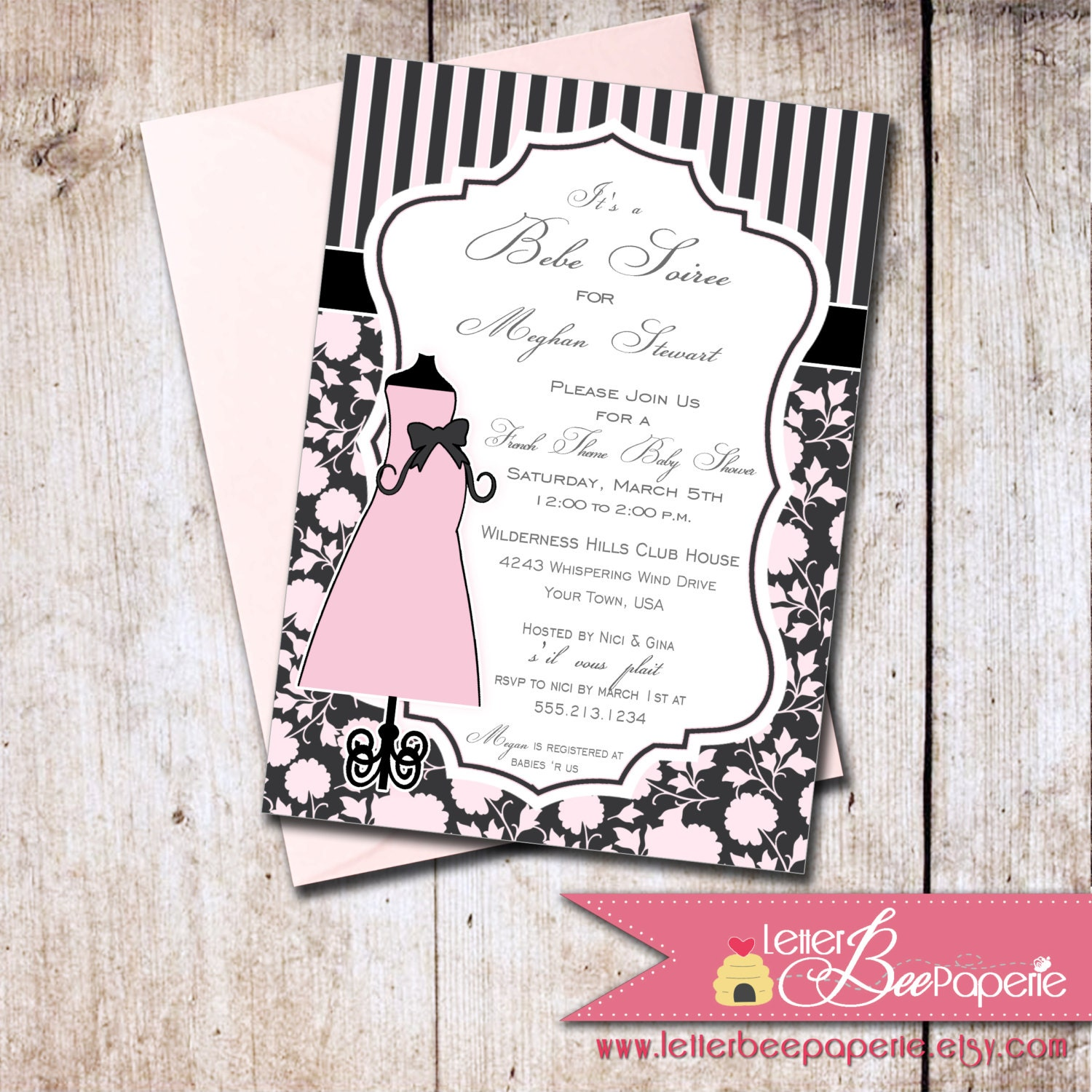 french theme baby shower invitation choose by letterbeepaperie