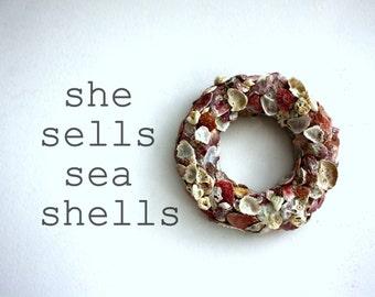 Seashell wreath...natural seashells...wall decoration...seashells home decor...sea shells home decor...front door decoration