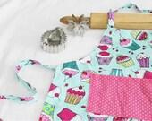Aqua Cupcakes Child Apron with pink polka dot pocket