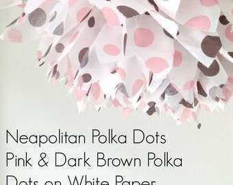 1 Neapolitan Polka Dot Tissue Paper Pom Pom, Wedding Decorations, Party Supplies, Nursery, Pink and Dark Brown Polka Dots, Polka Dot Pom Pom