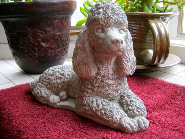 Poodle Statue Toy Dog Concrete Figure Cement Garden Decor