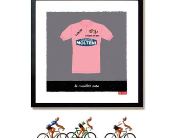 Giro d'Italia, Pink Jersey Print, Eddy Merckx, Cycling Art