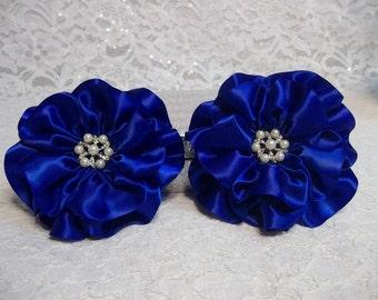 Royal Blue Satin Flowers, Set of 6, Flower Wedding Decorations, Handmade Luxe Satin Flowers
