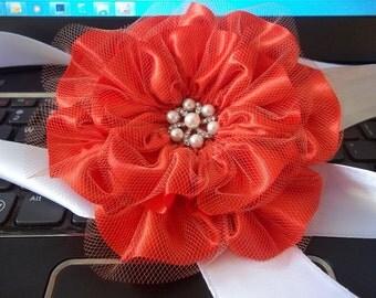 Persimmon Satin Flowers, Set of 6, Poppy, Orange Flower Wedding Decorations, Handmade Luxe Satin Flowers
