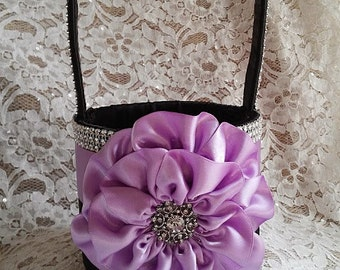 Black and Lilac Flower Girl Basket with Rhinestone Mesh handle and Trim, Orchid and Black Basket