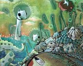 Artprint- White octopus creature with flying hearts, animals  underwater in the sky