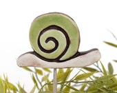 Snail garden art - plant stake - garden decor - snail ornament  - ceramic snail - large - green