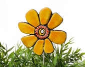 Flower garden art - plant stake - garden marker - garden decor - flower ornament - ceramic flower - buttercup - yellow