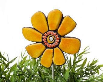 Flower garden art - plant stake - garden marker - garden decor - flower ornament - ceramic flower - buttercup - yellow