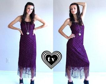 vtg 90s merlot FRINGE crochet lace MAXI DRESS gypsy xs/small flapper sparkle midi plum