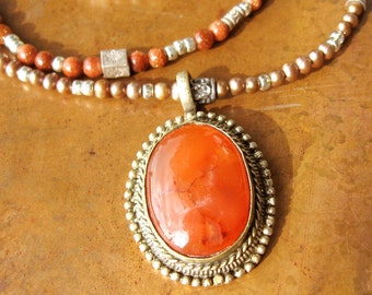 Bohemian Carnelian Necklace - Three Strand Tribal Necklace- Ethnic Silver Beaded Necklace- Gift for Her