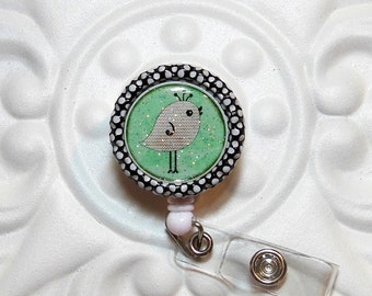 Retractable Badge Holder Bottlecap ID Badge Reel Teacher Lanyard  Cute Bird