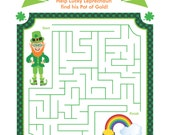 St. Patrick's Day MAZE Printable Game, Instant Download