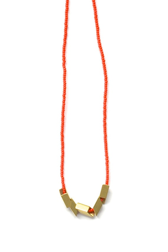 The Helsinki Series in Coral- Modern Geometric Necklace