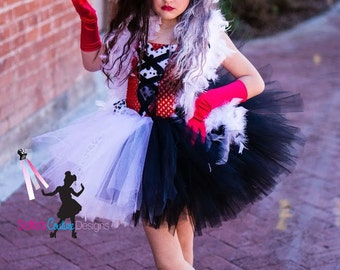 Cruella DeVille inspired dress from 101 dalmatians top hat and boa for Ashley