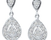 1/2CT Pear Shape Diamond Dangle Vintage Antique Filigree Style Womens Earrings 10KT White Gold
