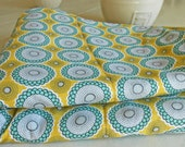 Mustard Yellow and Teal Flower Dish Mat/  Kitchen Dish Drying Mat/ Floral DishMat