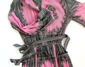 SALE Gorgeous 60s Lady Carol Paisley Handkerchief print Gown pink flowy patterned with mint and gold details fall autumn