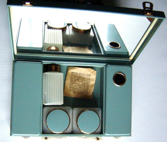 Vintage 1950s Sirram Beauty Box Mid Century Boudoir Dressing Table Vanity Traveling Case