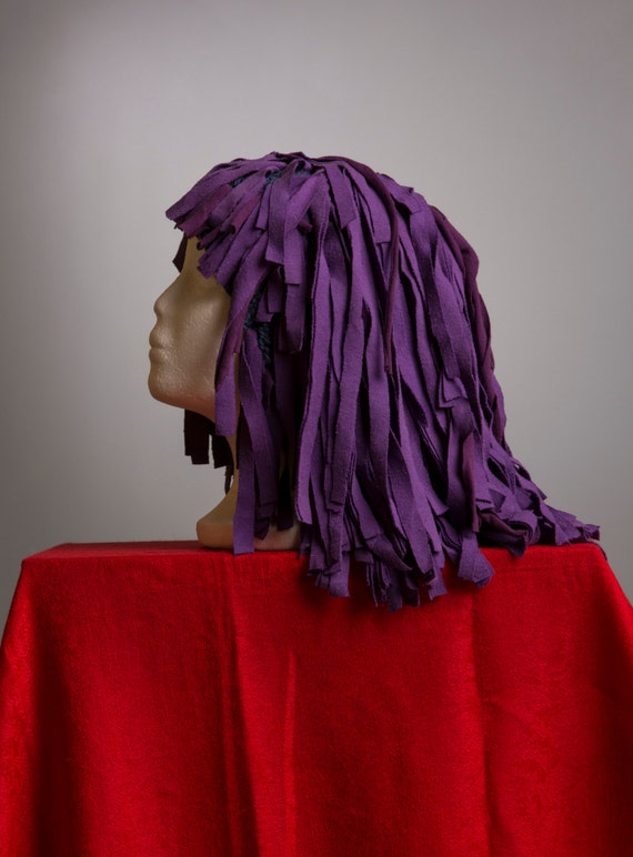Purple Cleopatra Wig - Fabric Strips on Knitted Cap