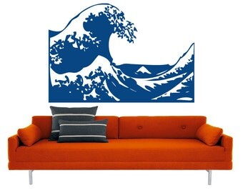 Kanagawa Wave vinyl decal- mount fuji ocean interior design, sticker art, room, home and business decor