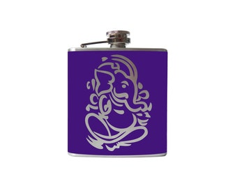 Lord Ganesh/ Ganesha elephant FLASK- alcohol, liquor, booze, wedding, bridal party, hip- Personalized Custom- YOU pick COLOR- 6 8 ounce