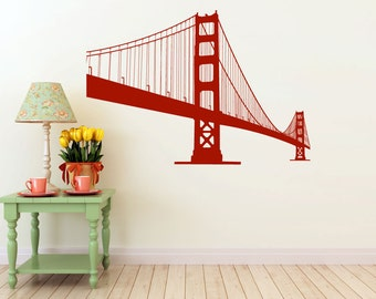 large Golden Gate Bridge vinyl Wall DECAL- San Francisco urban city interior design, sticker art, room, home and business decor