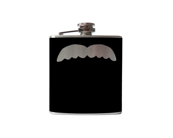 Mustache 05 Flask- alcohol, liquor, booze, wedding, bridal party, hip pocket- Personalized Custom - YOU pick COLOR, SIZE