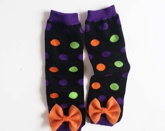Halloween Baby Leg Warmers polka dots with bows orange, purple, lime green and black