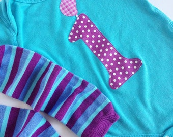 First Birthday First Birthday Candle Bodysuit and Leg Warmers, Aqua, Turquoise, Purple