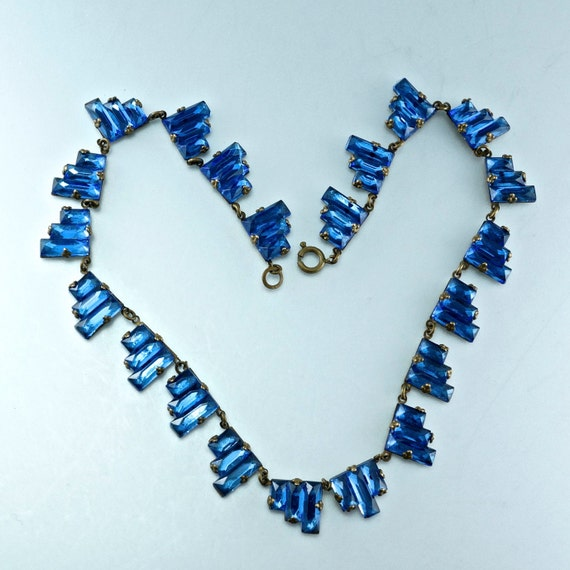 ANTIQUE ART DECO  Vauxhall glass czech blue crystal step tower necklace  No.0061 cs
