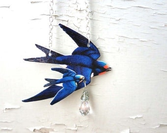 Love Birds Animal Necklace Blue Swallow with Flying Baby Bird New Mom