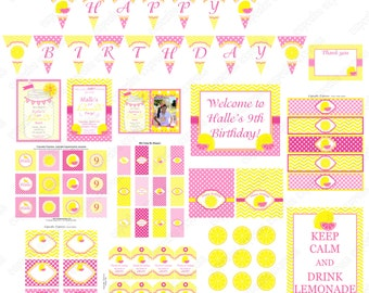 Pink Lemonade Stand Birthday Party decorations PRINTABLE Deluxe Package yellow pink lemons DIY invitation banner you are my sunshine