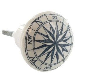 Nautical Compass Drawer Knob White Ceramic Knobs w/ Navy Blue Distressed Compasses / Maps Furniture Pull handle Cabinet dresser hardware DIY