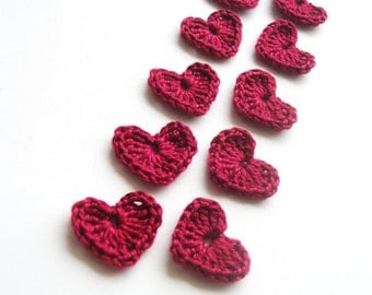 Crochet Heart Appliques, Red Wine Red, Set of 10, Valentines Day Heart Love Motif, Scrapbooking, Party Decorations, Bloody Love Heart