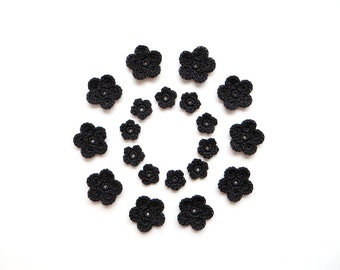 Crochet Flower Applique, Blackest Black, Set of 20, Decorative Motifs, Embellishments, Scrapbooking