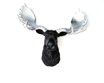 Black Moose Head With Metallic Silver Antlers  - Faux Taxidermy Moose M1713