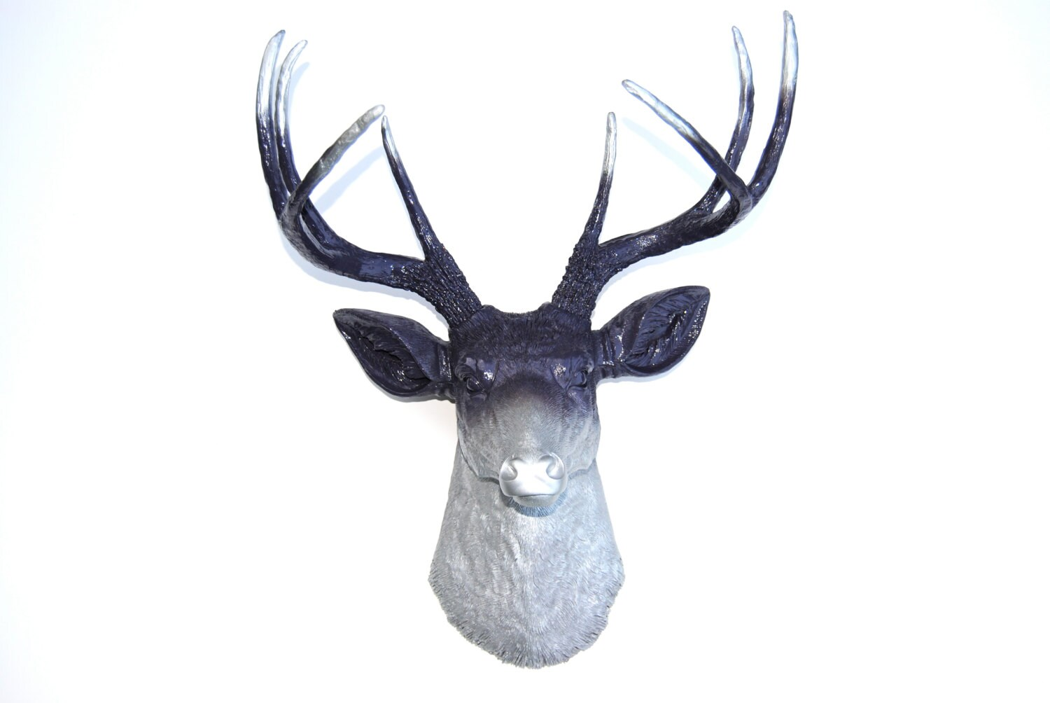 Silver deer wall decor : Ombre deer head decor purple and silver antlers